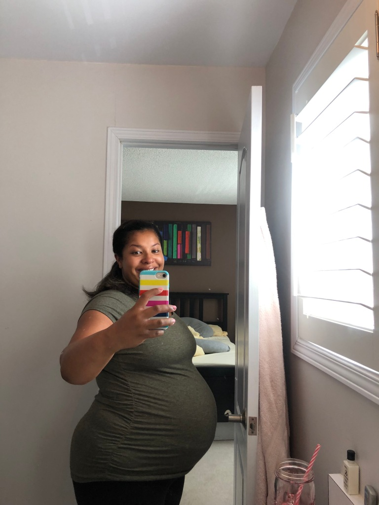 The author taking a selfie at 40 weeks pregnant.