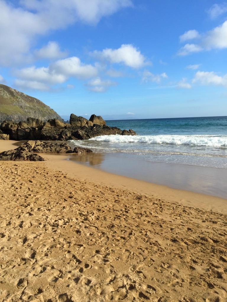 Sunny beach in Ireland.